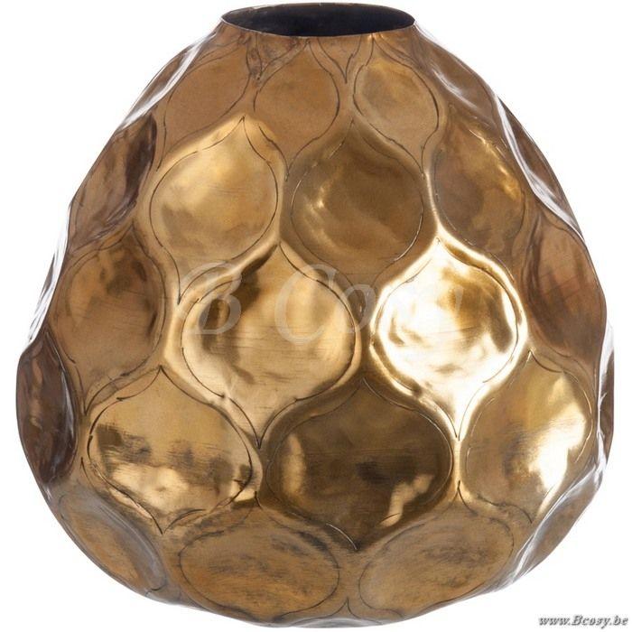 J-Line Vaas bolvorm gehamerd aluminium goud S ø35 - Schalen Potten Vazen - BCosy Webshop Boutique Web Vente en Ligne