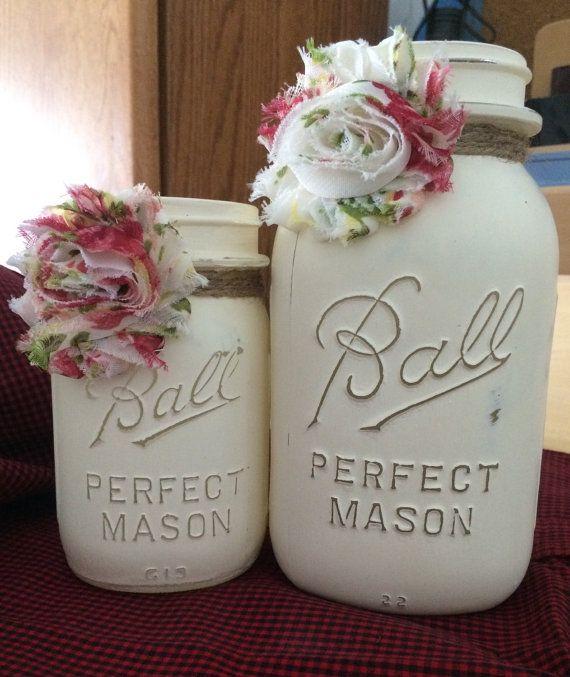 Antique Vintage Chalk Painted Mason Jars. Embellished with shabby chic flower. Set includes 1 quart and 1 pint size jar.