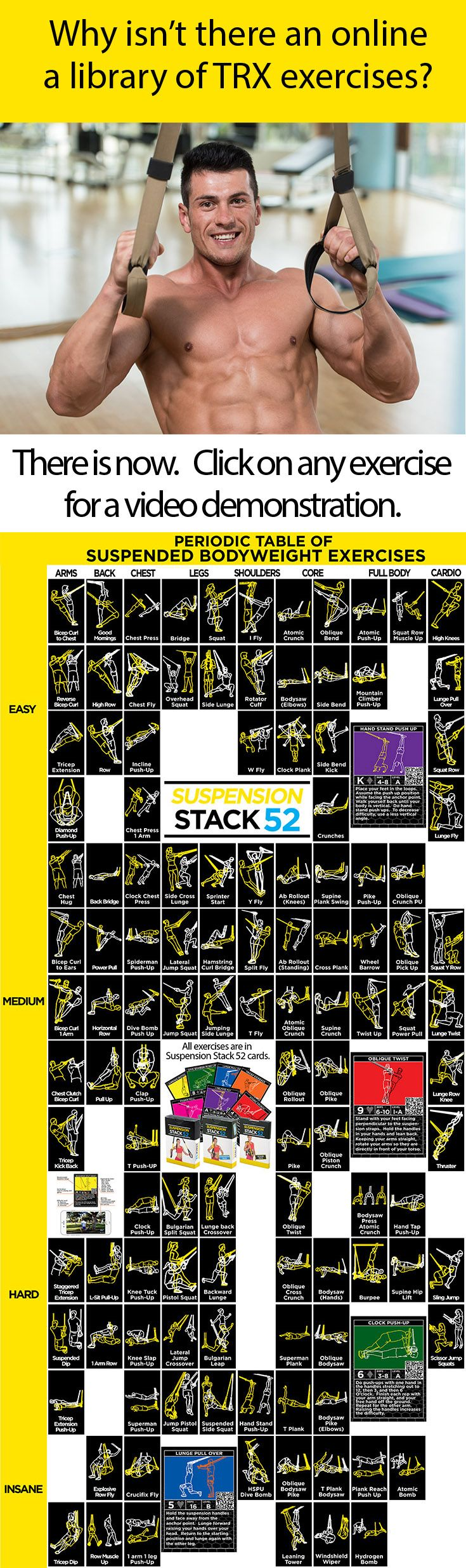 This Periodic Table of Suspension Exercises lists 119 TRX exercises arranged by muscle group and difficulty.  Click on any exercise for a video demonstration.  Enjoy!                                                                                                                                                                                 More