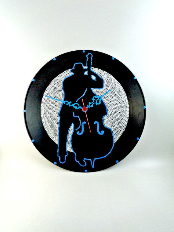 Bassist Vinyl Clock Jazz Hand Painted Upcycled  by InsaneDotting