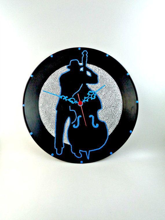 Bassist Vinyl Clock Jazz Hand Painted Upcycled  by InsaneDotting