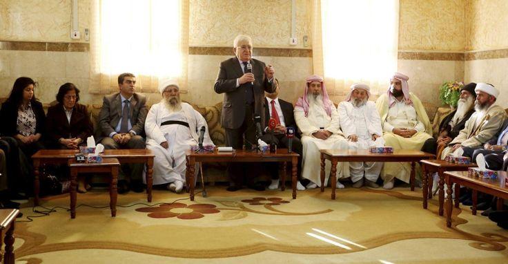 Iraqi President Fuad Masum meets with Yazidi spiritual councilmen at Lalish temple in Shikhan