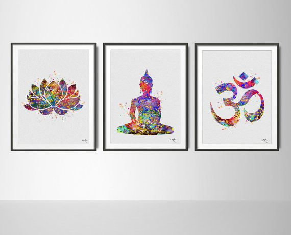 Yoga Watercolor Print Set Modern Home Decor Buddha by CocoMilla