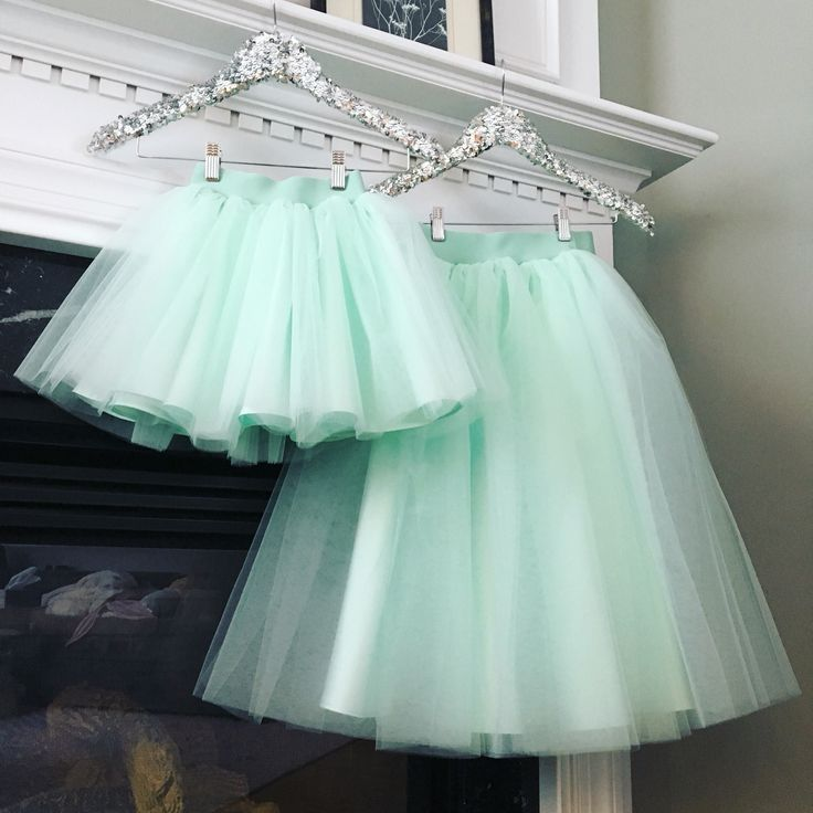 Mommy and Me tulle skirts in mint..