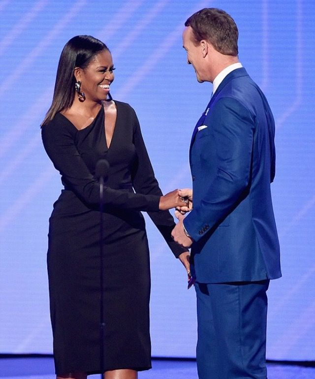#LOSANGELES #FirstLady #MichelleObama returned to the spotlight as a presenter at The #ESPYS July 12, 2017 drawing the loudest ovation at the awards show honouring the past year's best athletes and moments in sports. The former first lady made a rare public appearance since leaving the White House in January. She presented the #ArthurAshe #CourageAward posthumously to #Eunice #KennedyShriver founder of #SpecialOlympics Shriver's son, Tim, accepted on Wednesday night in Los Angeles.