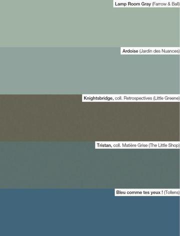 Pour chambre > Une belle palettes de tons profonds, entre le vert, le bleu et le gris.                                                                                                                                                                                 Plus