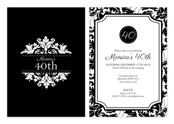 Black & White Damask Party Invitations | Personalised Damask Wedding Invitations - Pink Frosting Party Shop