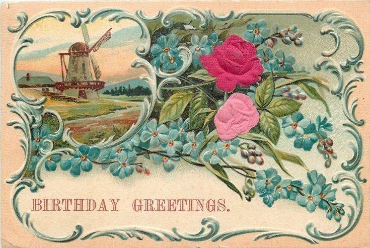 Dutch Windmill~Art Nouveau Embos~Blue Forget-Me-Nots~Pink Red Silk Roses~Austria  | eBay