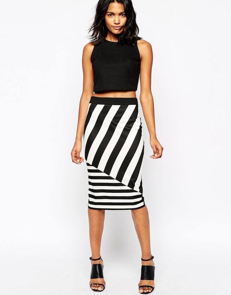 River Island Stripe Pencil Skirt
