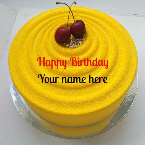 Mango Flavor Birthday Cake With Name For Friend,Create name on mango