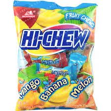 Hi-Chew is a popular fruit-flavored Japanese candy. A combination of taffy and gum, this soft candy has very vivid fruit flavors. This assorted bag contains Mango, Banana & Melon flavors. 3.53 oz bag