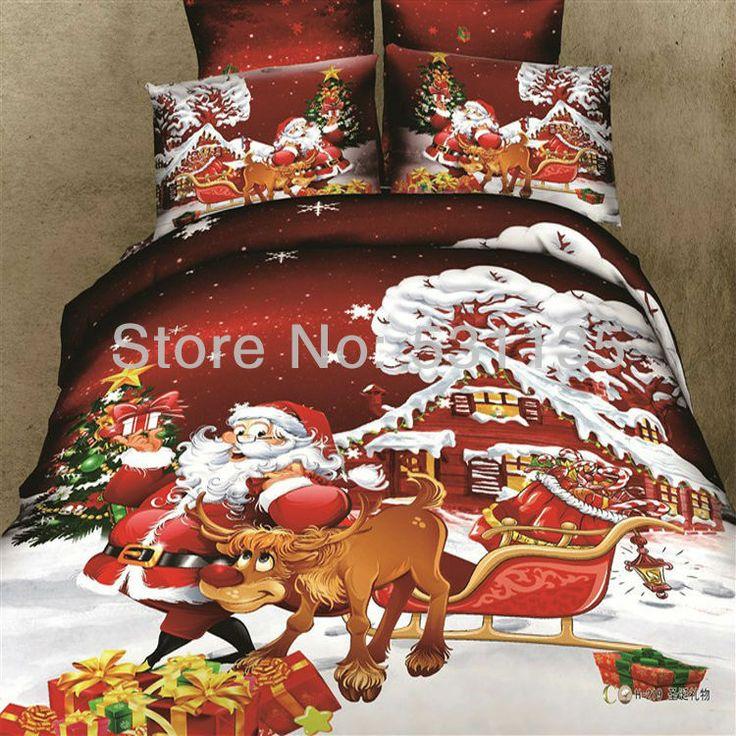 h219 red western christmas santa claus bedding set 4pcs 100cotton duvet quilt bed coversduvet