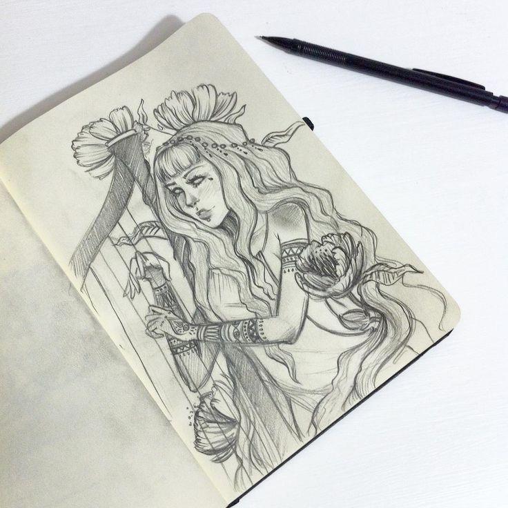 Petit croquis que j'ai fait en attendant le superbowl ~  --- Small sketch which I made while waiting for the superbowl ~  #sketch #draw #drawing #art #girl #woman #flower #flowers #paper #criterium #design #vsco #vscocam #drawn