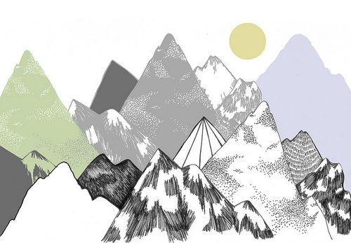 Over lapping bumpy triangles. Coloured in different techniques.