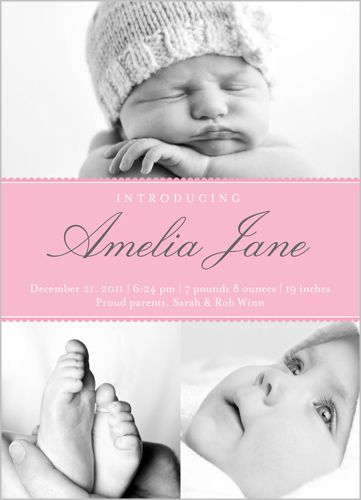 Modern Introduction Girl Birth Announcement