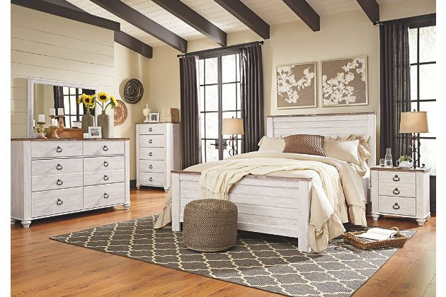 Willowton two tone white and brown casual bedroom furniture set