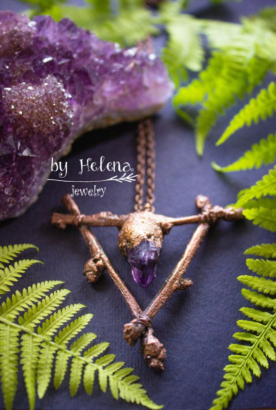 This magic necklace is from natural branches, electroformed, covered copper. This is very unique jewelry, with some magic. Risk to wear it,