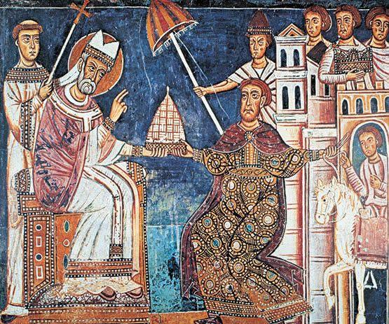 Constantino entrega Occidente a la Iglesia. Detalle de la iglesia de los Cuatro Santos Coronados ( Siglo XIII, Roma )