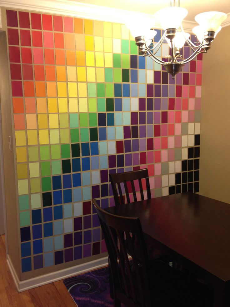 Wall art made with paint samples from home depot art for Interior design decorative paint effects
