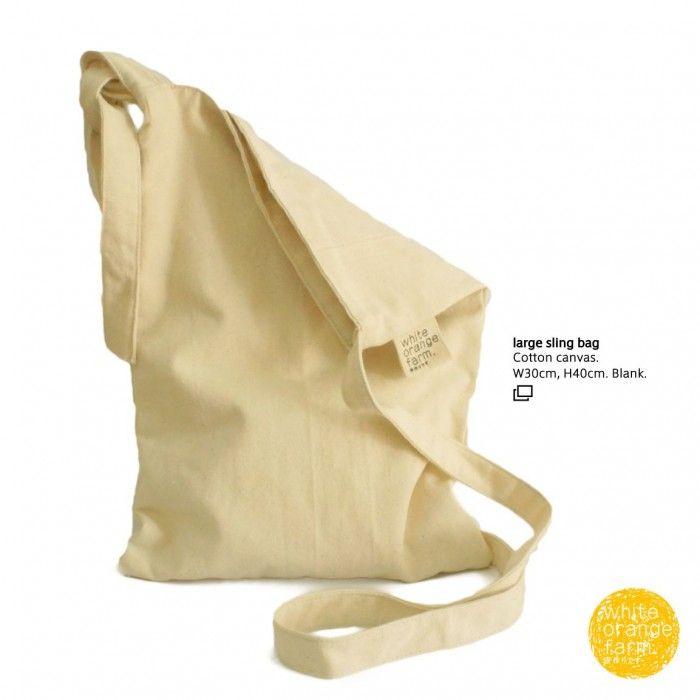 Large Sling Bag #whiteorangefarm #mosseash #handmade #handmadebag #cotton #canvas