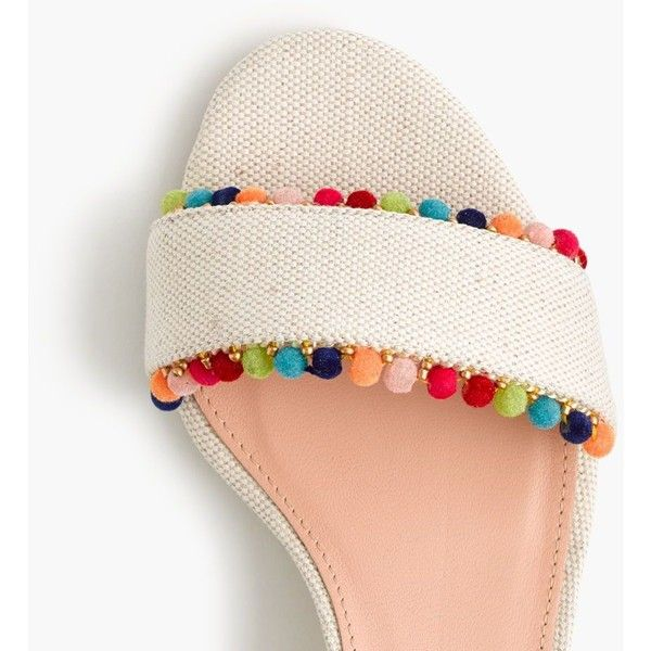 J.Crew Lottie Sandals With Pom-Poms (£175) ❤ liked on Polyvore featuring shoes, sandals, colorful pom pom sandals, pom pom sandals, mid-heel sandals, colorful sandals and j crew sandals