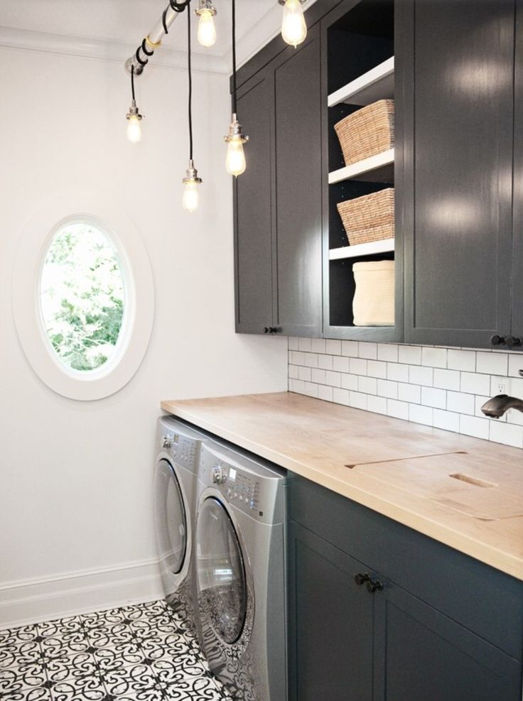 laundry room: dark cabinets, counter w/sink cover