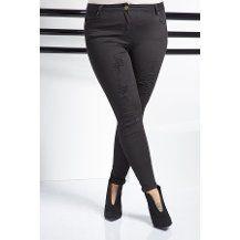 RMG Bayan Büyük Beden Likralı Yırtık Pantolon Siyah