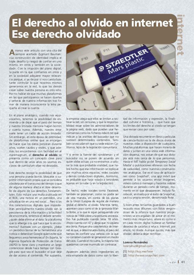 El derecho al olvido en internet. Ese derecho olvidado