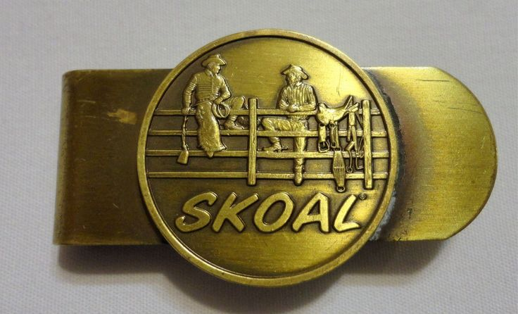 Vintage Brass Cowboys on Fence Collectible Skoal Tobacco Advertising Money Clip