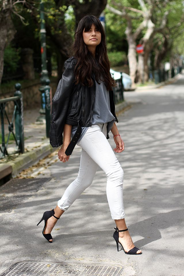 black leather + white jeans//