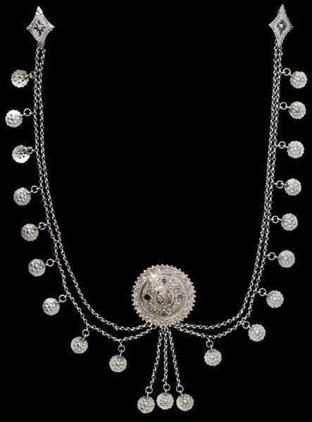 Breast chain Epirus, Greece ca. 1850 Silver with niello decoration