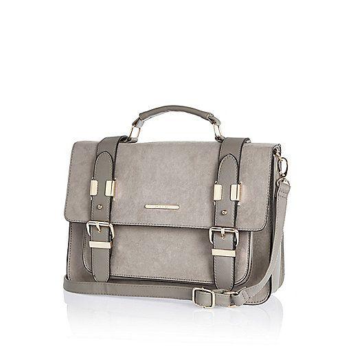 Light grey faux-suede satchel handbag - satchels - bags / purses - women