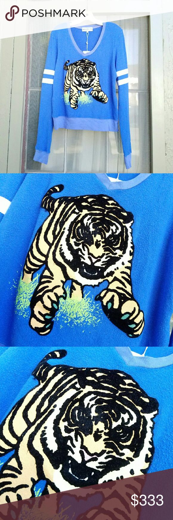{Wildfox} Tiger Spirit v-neck jumper. Listing tomorrow when I arrive back at Termite Terrace.  NWT sample, size small. No flaws, never worn.  Like this half-ass listing to be notified when the price drops to 45. Wildfox Tops Sweatshirts & Hoodies