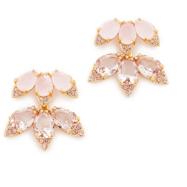 Kate Spade New York Blushing Blooms Ear Jackets found on Polyvore featuring jewelry, earrings, pink multi, gold plated jewellery, 14 karat gold earrings, pink earrings, kate spade jewelry and gold plated jewelry