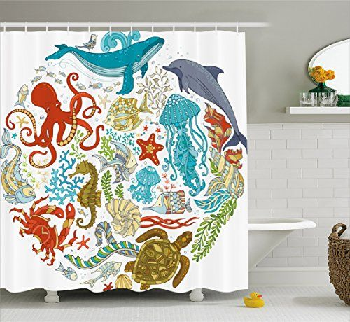 Lovely Bathroom Rugs Ideas | Ocean Shower Curtain By Ambesonne Fish Sealife  Octopus Whales Dolphin Moss Starfish