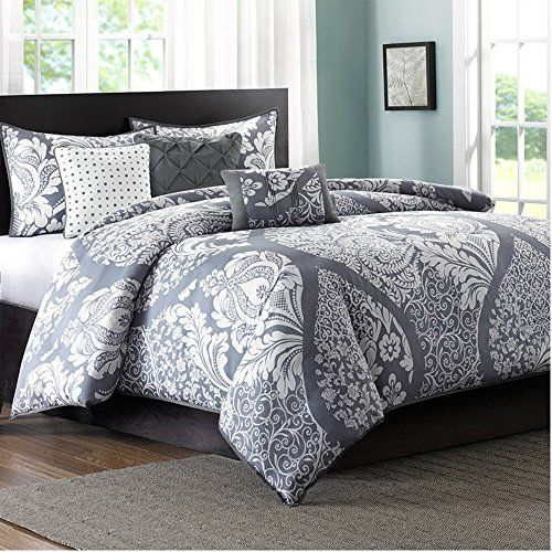 Full  Queen Size Duvet Cover Set of 6 in Modern Floral Prints Design on Sale  100 Cotton Grey ** You can find more details by visiting the image link.