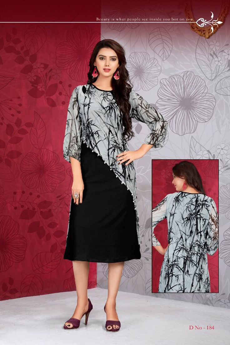 Black Stylish Tunic Style Printed Office Wear Kurti Vink Fashion Flamingo Catalog 184