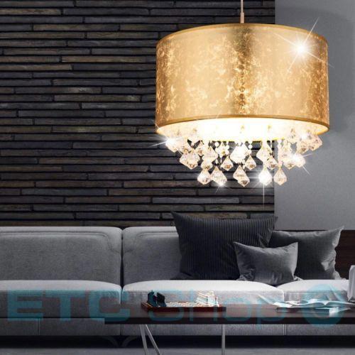 Details zu Pendel Lampe Hänge Leuchte Schlafzimmer Textil Kristall ...