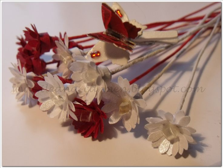 Quilling Bouquet with White and Red Flowers for Romanian Celebration of 1-st March.