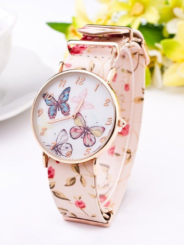 PU Leather Flower Butterfly Quartz Watch - WHITE