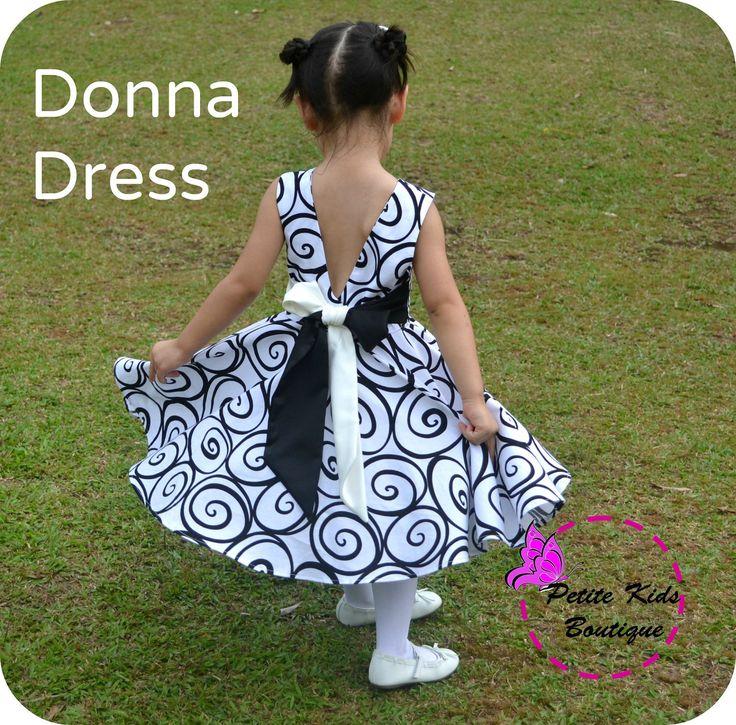 Donna Dress for Girls 12M-8Y PDF patronen & Instructie-kriskras front-lage rug-cirkel rok-grote boog