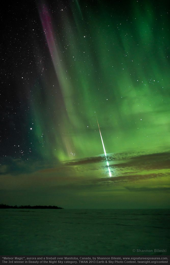 Aurora and meteor over Manitoba, Canada. This image was 3rd winner in the Beauty of the Night Sky category for the 2013 International Earth and Sky Photo Contest.