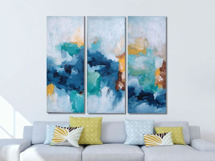 Artfinder fluctuate x 100 cm three piece by omar obaid an original abstract painting by omar obaid a bright landscape painting with many layers