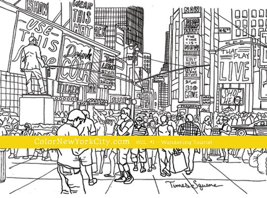 Times Square New York City Coloring Page From The Book Color
