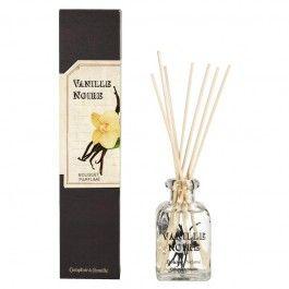 Un+bouquet+d'émotions+et+ses+tiges+de+rotin+à+offrir+dans+un+emballage+noir+à+étiquette+d'herboriste.+Comme+préparé+par+un+apothicaire,+son+parfum+précieux+marie+vanille,+musc+blanc,+freesia+et+jasmin.
