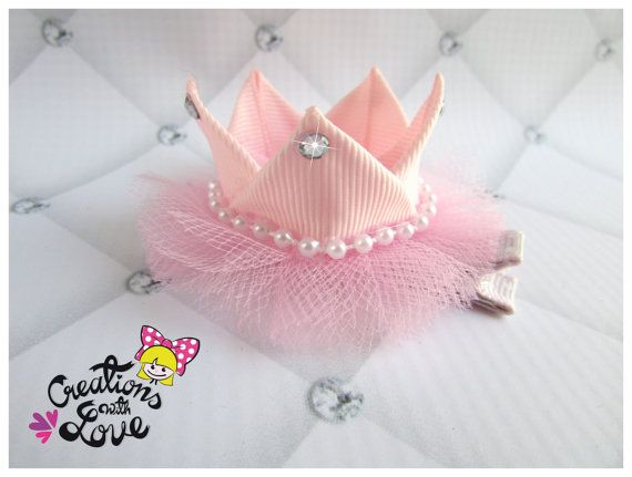 Crown Ribbon Sculpture Hair Clip. Princess Crown Hair Clip.
