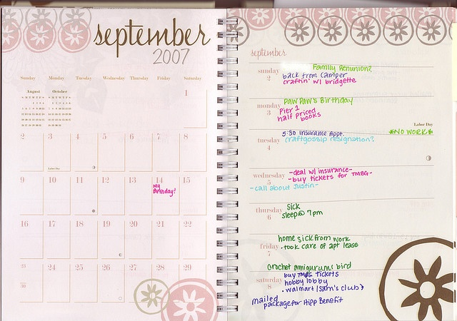 My Planner -- September 2-8, 2007 by aforementionedthoughts, via Flickr
