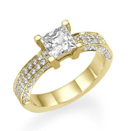 Diamond Engagement Ring with Sidestones 18K Yellow Gold 1.44 ctw Certified Princess Cut 2/3 ct Center Stone H Color SI1 Clarity | Your #1 Source for Jewelry and Accessories