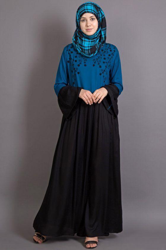 d2a330cef4 NAZNEEN embroidered Turq/Black Party Abaya [NHF 14 Turq/Black] - Rs1,450.00  : NAZNEEN Halal Fashion, Abaya, Naqab and Burqa Online