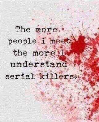 The more people I meet the more I understand serial killers.